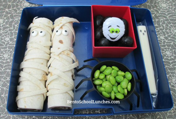 Mummy tortilla roll ups, Halloween bento lunch