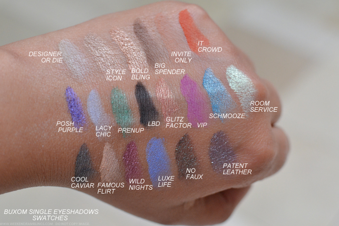 Buxom Eyeshadow Bar Single Eyeshadows Refills Swatches Cool Caviar Famous Flirt Wild Nights Luxe Life No Faux Patent Leather It Crowd Posh Purple Lacy Chic Prenup LBD Glitz Factor VIP Schmooze Designer or Die Style Icon Bold Bling Big Spender Invite Only