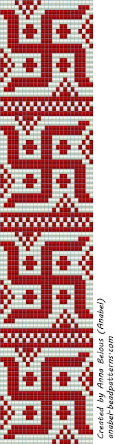 Схемы браслетов с индийской (тибетской) свастикой - станочное ткачество