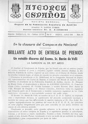 Revista Ajedrez Español, nº 30 - Campeonato de España de Ajedrez de 1944 1