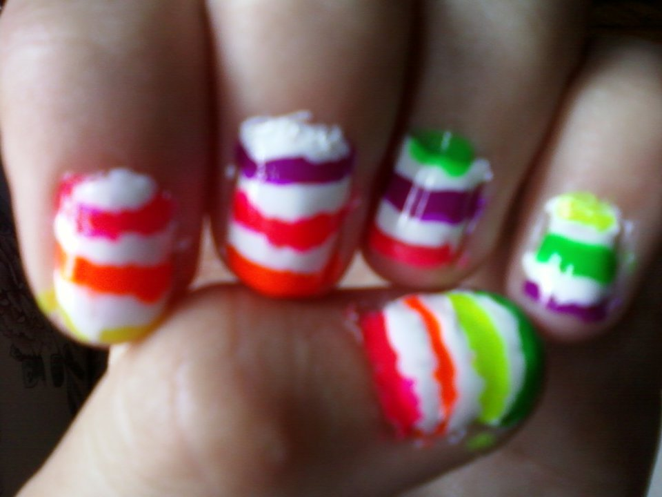 Abbys Nail Designs Neon Stripped Nails