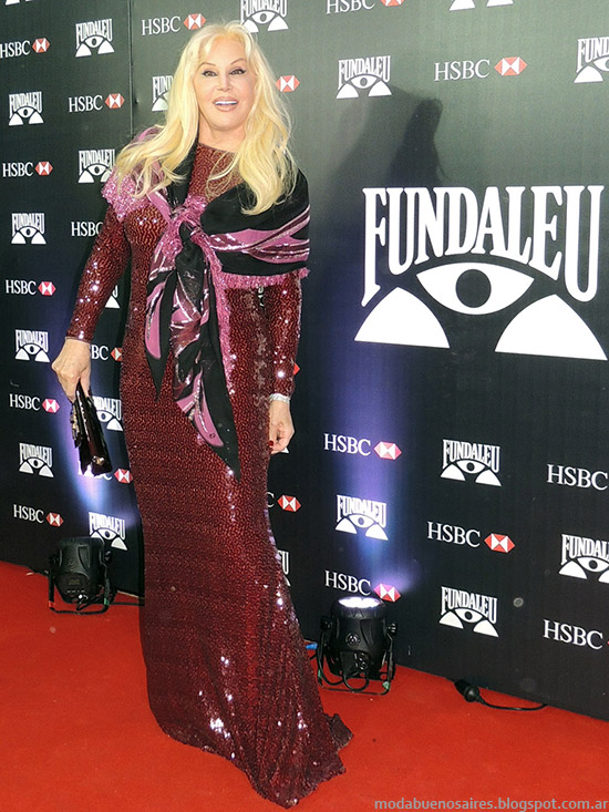 Susana Gimenez look vestido de fiesta, moda alfombra roja Fundaleu.