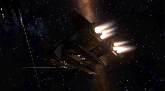 Screenshot of the Federal Assault Ship from Elite: Dangerous