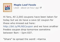 Free Meat Coupon Announcement -Maple Leaf Foodsimage