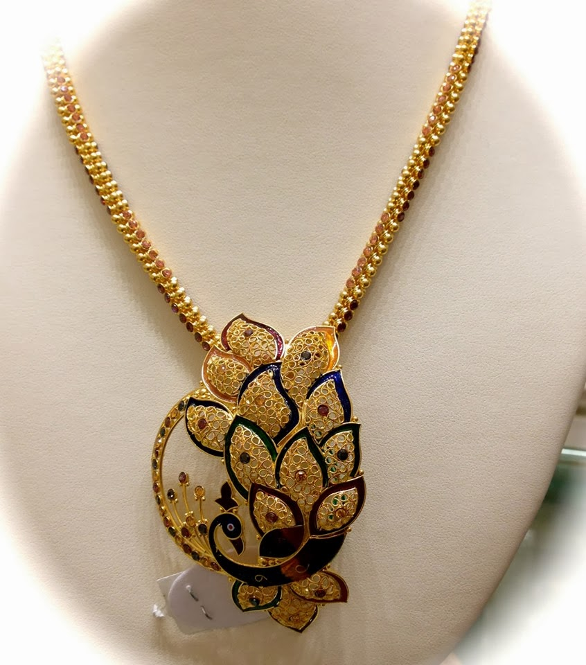 Gold chain with peacock pendant latest gold jewellery designs gold chain with peacock pendant aloadofball Choice Image