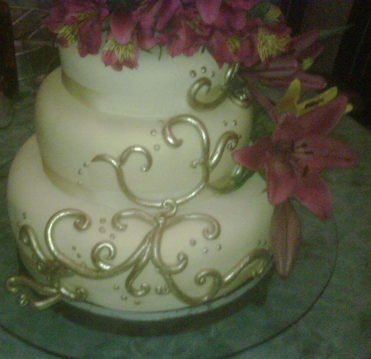 Torta De 15 Anos Crema Y Dorada