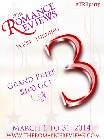 Click the pic to join in The Romance Reviews 3rd birthday bash! Loads of great prizes up for grabs.