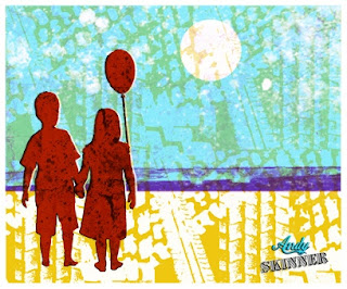 Andy Skinner Stencil and Decoart Traditions acrylic Gelli Plate Print