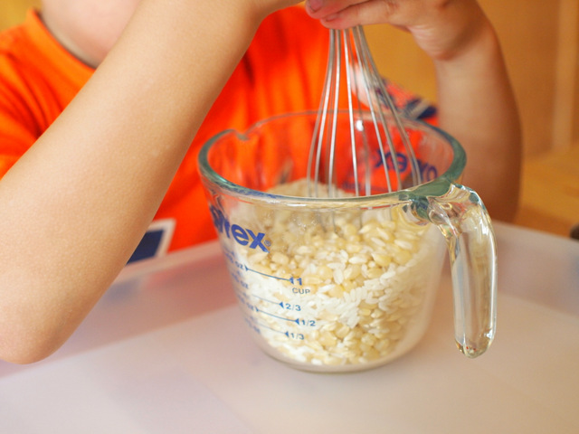 mix rice and corn to put inside your DIY rainmaker