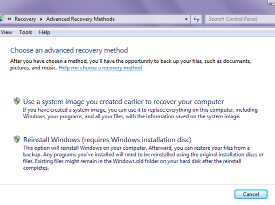 recovery , Reinstall Windows , Install ulang