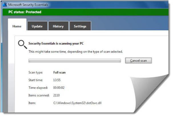 Tampilan Microsoft Security Essentials  Ketika Melakukan Proses Scanning