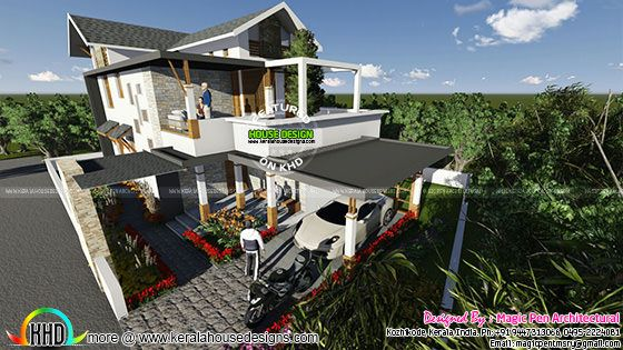 Slope roof mix contemporary home