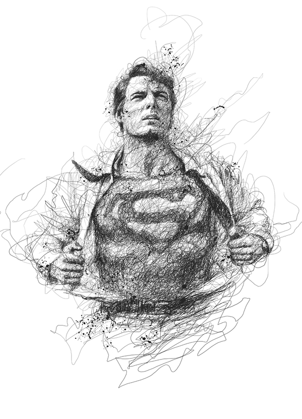 02-Superman-Clark-Kent-Christopher-Reeve-Vince-Low-Scribble-Drawing-Portraits-Super-Heroes-and-More-www-designstack-co