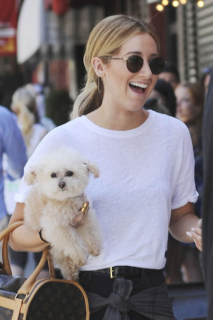 Actress, Singer @ Ashley Tisdale With Her Dog Out In Soho