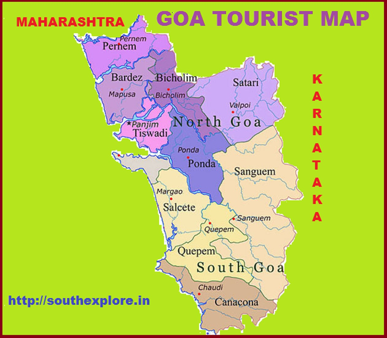 GOA TOURISM MAP TOURIST ATTRACTIONS IN GOA – South India Map With Tourist Places