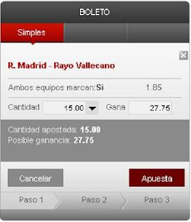 Apuestas Deportivas Rosberg Fútbol- Liga BBVA España Real Madrid Rayo Vallecano Cirsa