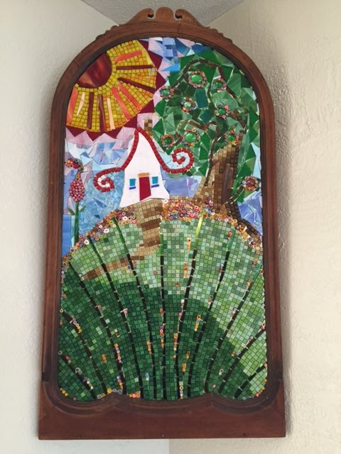 House on the Hill Glass Mosaic