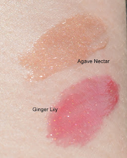Aveda Agave Nectar and Ginger Lily gloss swatch