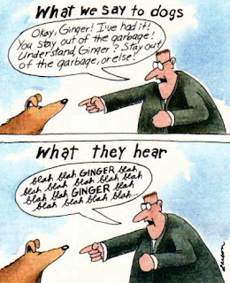 Gary Larson, The Far Side: What we say to dogs. What they hear.