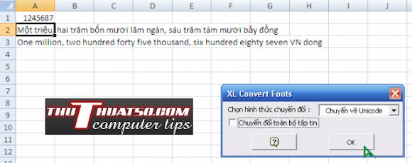 Đổi số thành chữ, đổi font, đổi kiểu chữ trong Ms excel đơn giản với Vntool