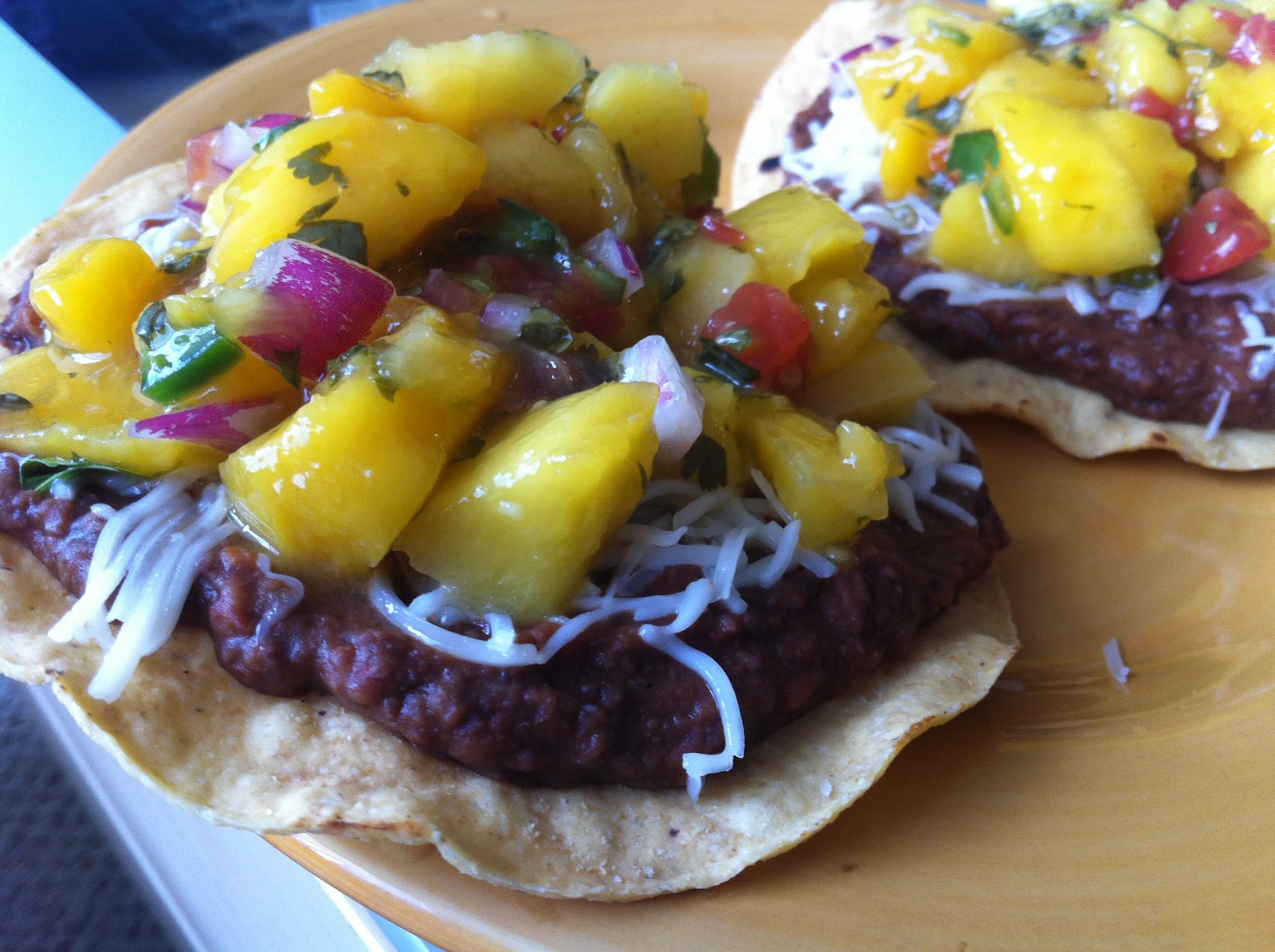 ... of pots and pans: Mango Salsa and Chipotle Black Bean Tostadas