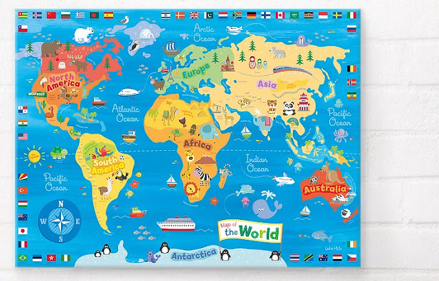 Happy Spaces Wall Art | World Map Canvas Print