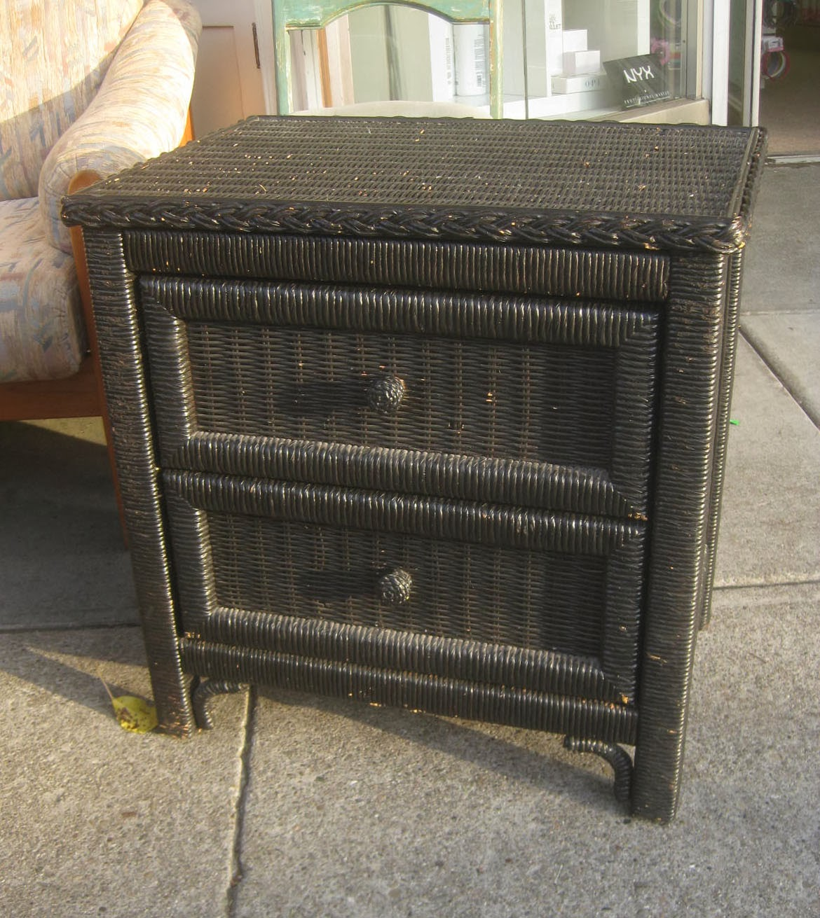 Uhuru Furniture Collectibles Sold Black Wicker Night Stand 30
