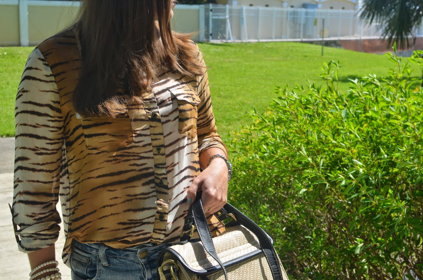 Boyfriend jeans - animal print top - boat shoes - Straw bag - poshmark