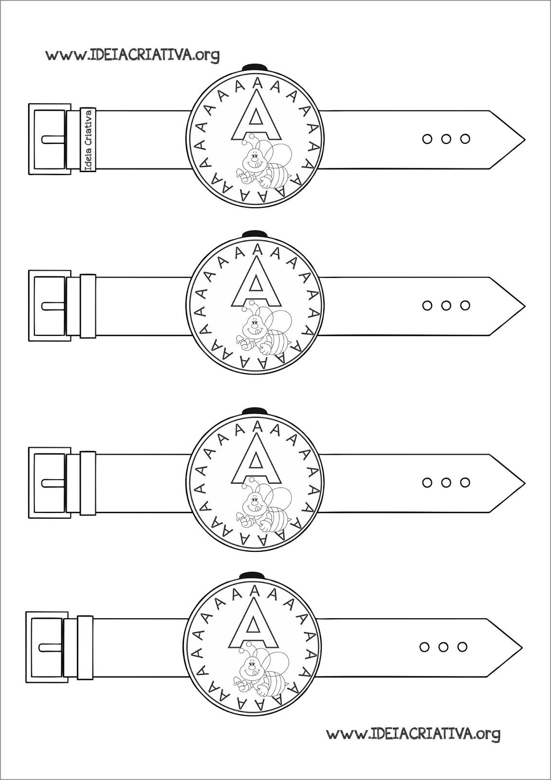 Relógio Letra A Atividade para Educação Infantil