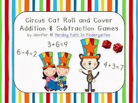 http://www.teacherspayteachers.com/Product/Circus-Cat-Themed-Roll-Cover-Addition-Subtraction-Games-1127576