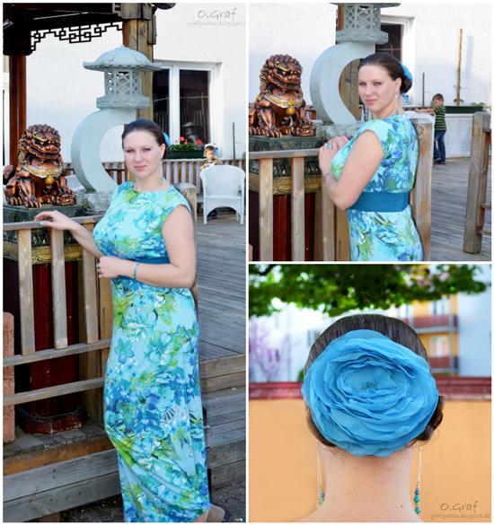 O.Graf Бирюзовая роза, Длинное платье