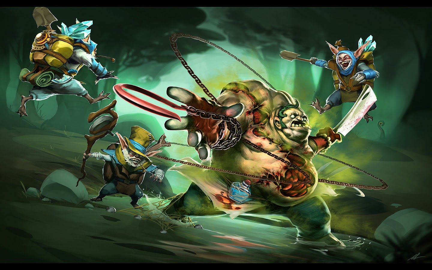 mepoo geomancer vs pudge butcher clash dota 2 hero hd wallpaper 1440x900 widescreen a12.