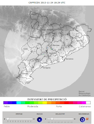 Catalan Weather Service radar with the range visible in gray