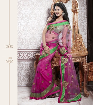 pink colour net saree