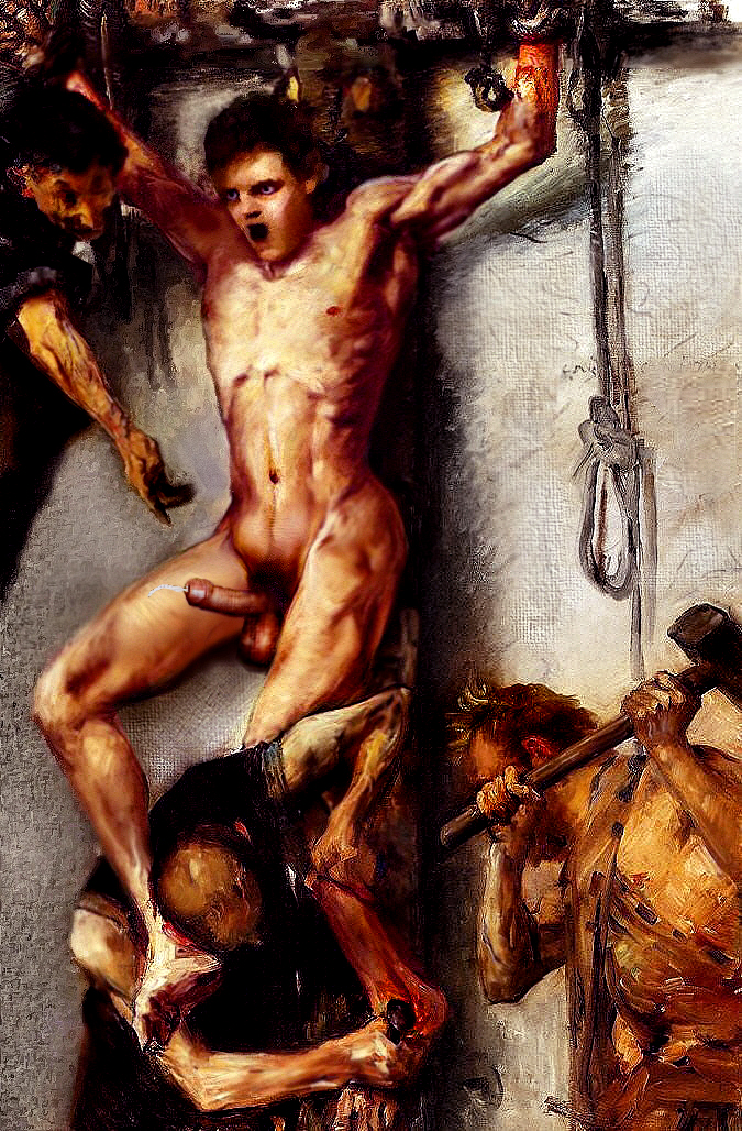 Crucifixion death naked