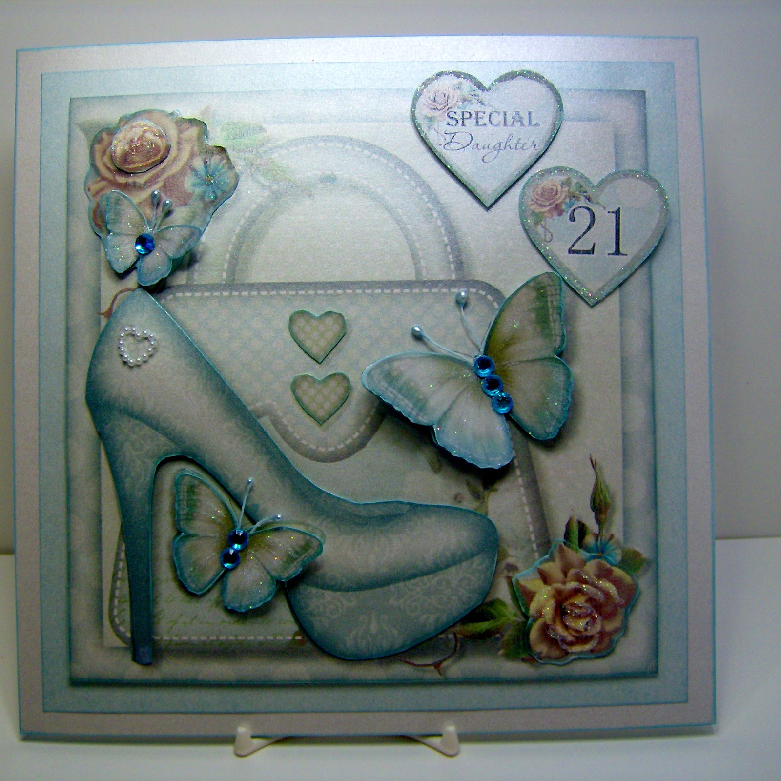 This Is A 8x8 Size Card And Box To Fit Wonderful Design For Young Lady Turning 21 I Printed It On Pearlised Stock Make