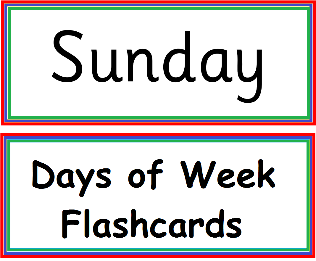 Kindergarten Worksheets: Days of week - Flashcard