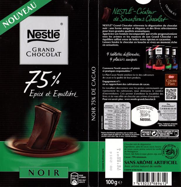 tablette de chocolat noir dégustation nestlé grand chocolat epicé et equilibré 75