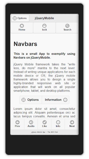 jQueryMobile App using Navbars For Android and BlackBerry