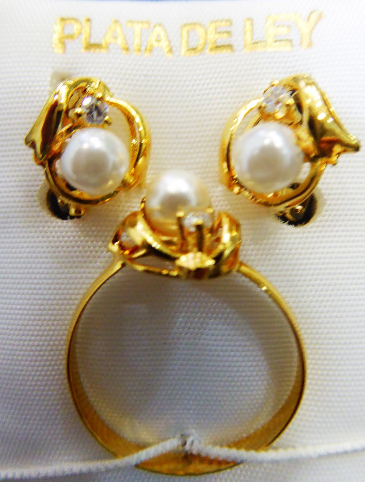 Juego de plata dorada, terminación de joyería