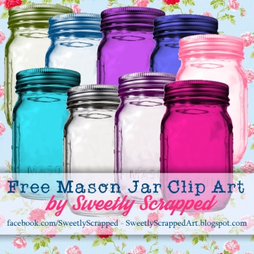 sweetly scrapped: colored mason ball jar clip art