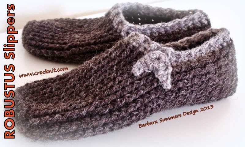Free Crochet Patterns For Family Slippers : MICROCKNIT CREATIONS: ROBUSTUS Slippers for Men FREE ...