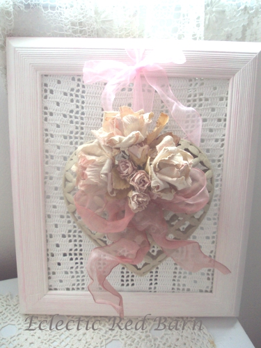 Pink Frame with lace background and heart with slik roses