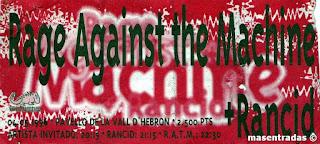 entrada de concierto de rage against the machine