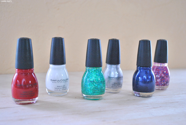 With bright beautiful red, white, and blue shades as well as two fun glitters, and a gorgeous silver... I'm pretty much gaga for these beautiful colors that represent 'Merica so wonderfully!