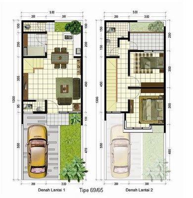 Denah Rumah 2 Lantai Type 69