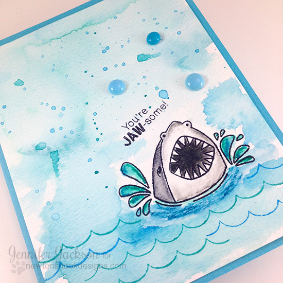 You're Jaw-Some Shark card by Jennifer Jackson | Shark Bites Stamp set by Newton's Nook Designs
