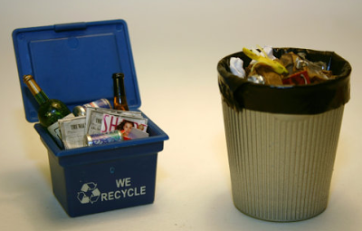 miniature recycling bin and trash can for dollhouse