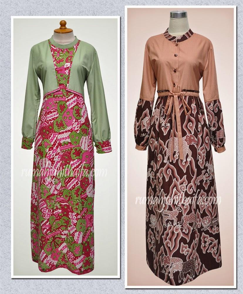 Contoh Model Gamis Batik Kombinasi Brokat Polos Dua Warna