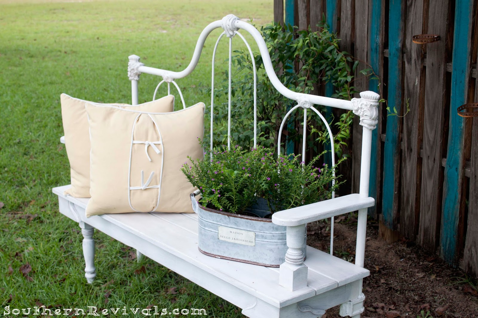 . DIY Repurposed Metal Headboard Bench   Southern Revivals